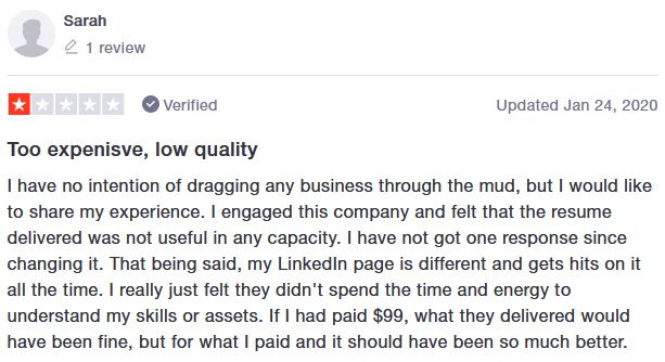 No company's perfect. This is their only negative review on TrustPilot.