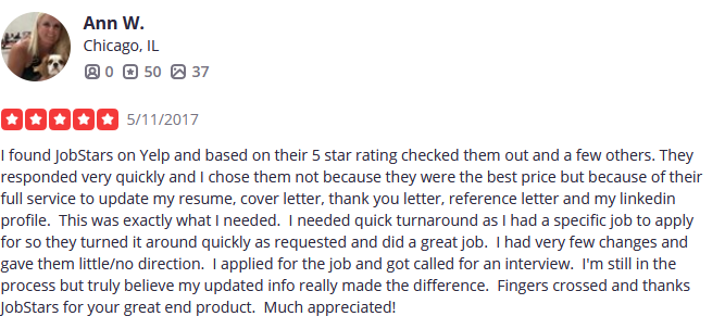 JobStars has only 5-Star ratings from customers, who leave incredible reviews like this one.