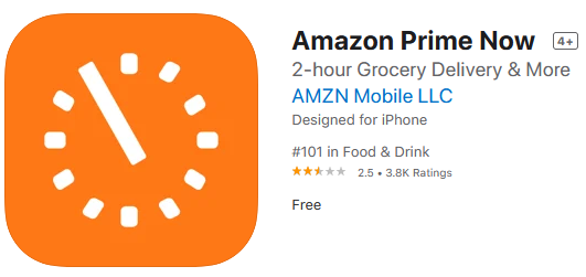 Prime Now app rating
