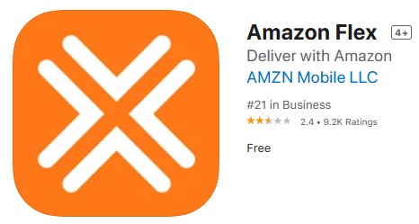 Amazon Flex app store listing and rating